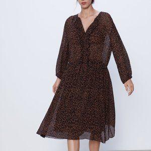 Zara ruffled animal print dress large nwt